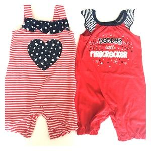 Other - 3/$15 Baby Girl Patriotic Jumper Pair 12 Months